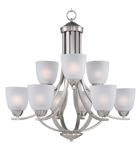Maxim 11226FTSN Axis 9 Light 28 inch Satin Nickel Multi-Tier Chandelier Ceiling Light photo