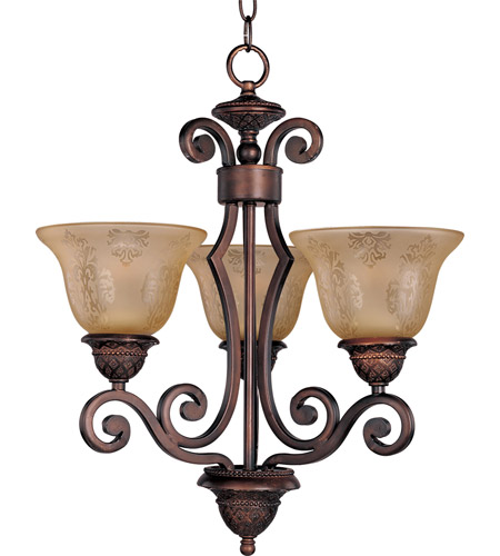 Maxim 11235SAOI Symphony 3 Light 19 inch Oil Rubbed Bronze Mini Chandelier Ceiling Light in Screen Amber photo