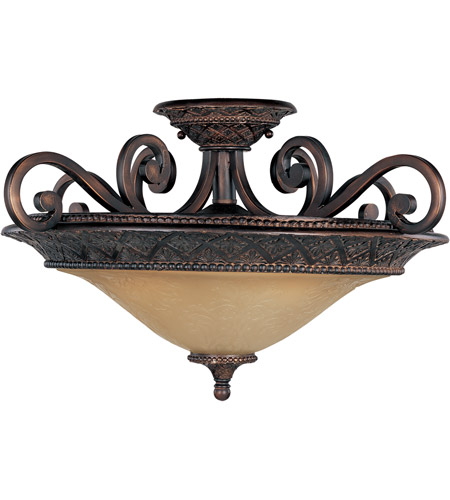 Maxim 11241SAOI Symphony 3 Light 23 inch Oil Rubbed Bronze Semi Flush Mount Ceiling Light in Screen Amber photo