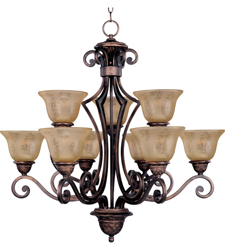 Maxim 11245SAOI Symphony 9 Light 32 inch Oil Rubbed Bronze Multi-Tier Chandelier Ceiling Light in Screen Amber photo