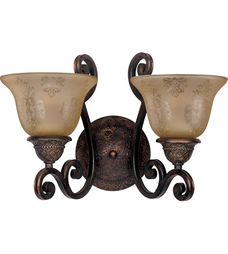 Maxim 11247SAOI Symphony 2 Light 16 Inch Oil Rubbed Bronze Wall Sconce In Screen Amber