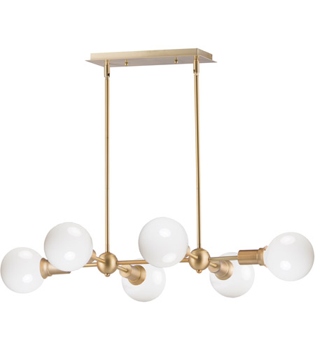 Maxim 11346sbr Molecule 6 Light 35 Inch Satin Brass Linear Pendant Ceiling Light