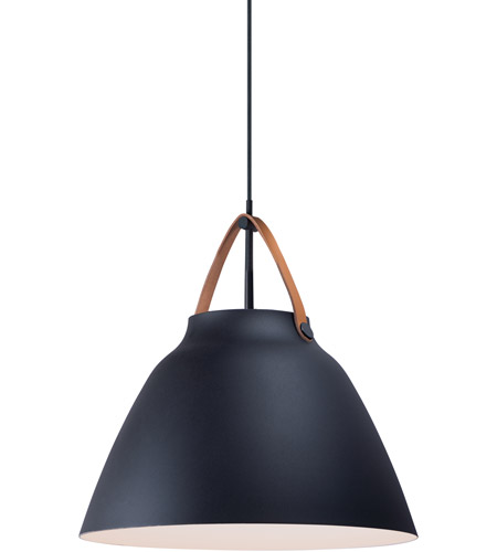 Maxim 11358TNBK Nordic 1 Light 19 inch Tan Leather and Black Single Pendant Ceiling Light photo