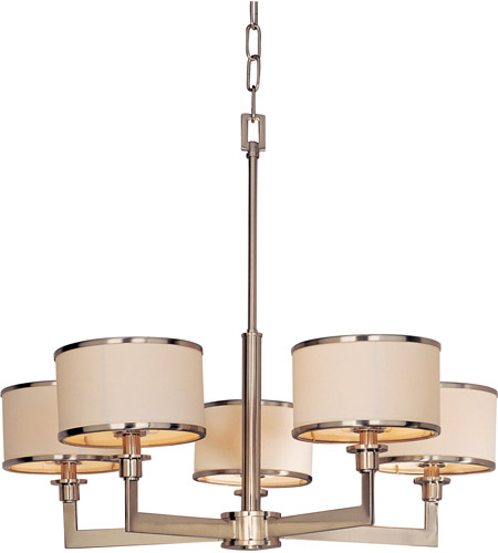 Maxim 12055WTSN Nexus 5 Light 28 inch Satin Nickel Single Tier Chandelier Ceiling Light photo