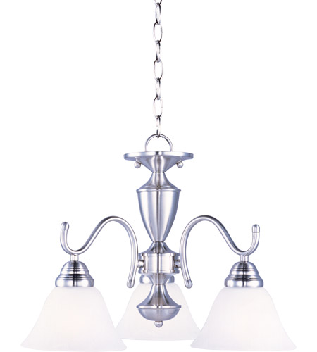 Maxim 12061MRSN Newport 3 Light 20 inch Satin Nickel Mini Chandelier Ceiling Light in Marble photo