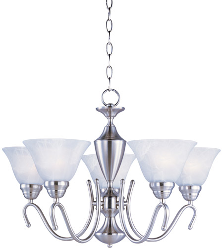Maxim 12063MRSN Newport 5 Light 25 inch Satin Nickel Single Tier Chandelier Ceiling Light in Marble photo