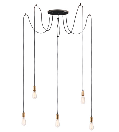 Maxim 12125bkab Early Electric 5 Light 14 Inch Black And Antique Brass Multi Light Pendant Ceiling Light