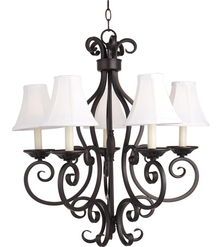 Maxim 12215OI/SHD123 Manor 5 Light 26 inch Oil Rubbed Bronze Single Tier Chandelier Ceiling Light in With Shade (123) photo