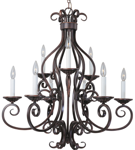 Maxim 12216OI Manor 9 Light 29 inch Oil Rubbed Bronze Multi-Tier Chandelier Ceiling Light in Without Shade photo