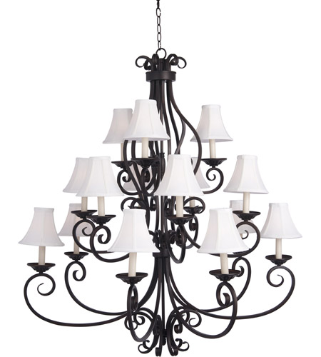 Maxim Lighting Manor 15 Light Multi-Tier Chandelier in Oil Rubbed Bronze 12219OI/SHD123 photo