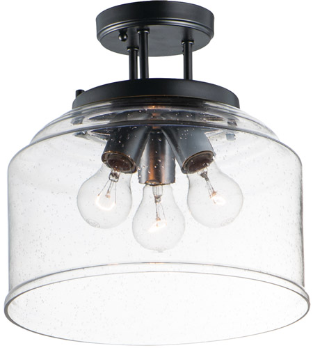 3 Light 13 Inch Black Semi Flush Mount