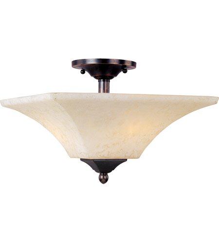 Maxim Lighting Mission Bay 2 Light Semi Flush Mount in Heirloom Brass 12420FLHB photo