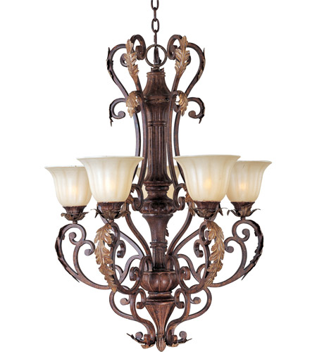 Maxim 13565CFAF Augusta 5 Light 28 inch Auburn Florentine Single Tier Chandelier Ceiling Light in Without Crystals photo