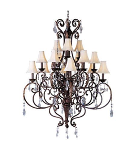 Maxim Lighting Augusta 15 Light Multi-Tier Chandelier in Auburn Florentine 13577AF/CRY081/SHD62 photo
