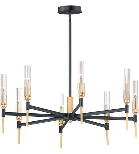 Maxim 16128clbkab Flambeau Led 33 Inch Black And Antique Brass Chandelier Ceiling Light