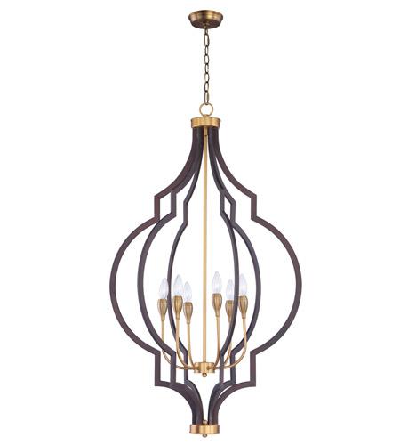 795226da5837 Maxim 20296OIAB Crest 6 Light 26 inch Oil Rubbed Bronze and Antique Brass  Chandelier Ceiling Light