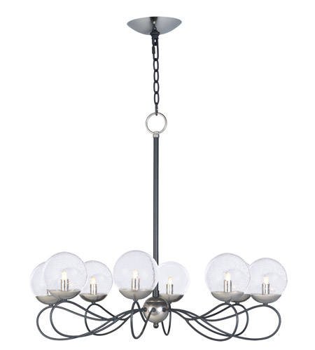 Maxim 20465BGTXBPN/BUL Reverb LED 31 Inch Textured Black/Polished Nickel  Chandelier Ceiling Light