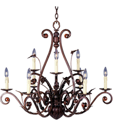 Maxim Lighting Nouveau 9 Light Multi-Tier Chandelier in Windsor Bronze 20655WB