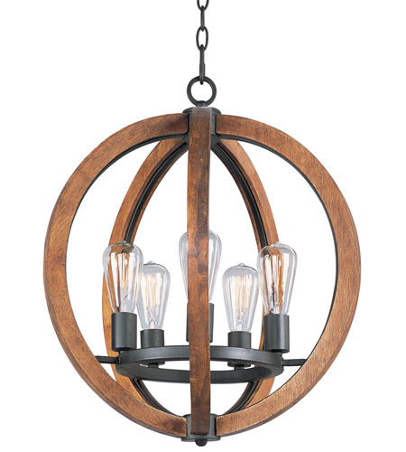 Maxim 20917APAR/BUI Bodega Bay 5 Light 19 inch Anthracite Chandelier Ceiling Light in With Bulb photo
