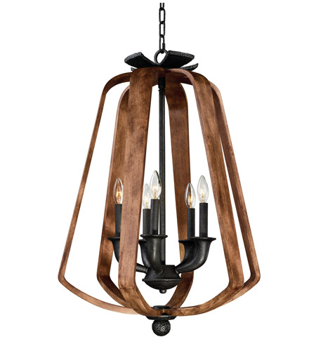 Maxim 20925BWIO Road House 5 Light 22 inch Barn Wood and Iron Ore Pendant Ceiling Light photo thumbnail