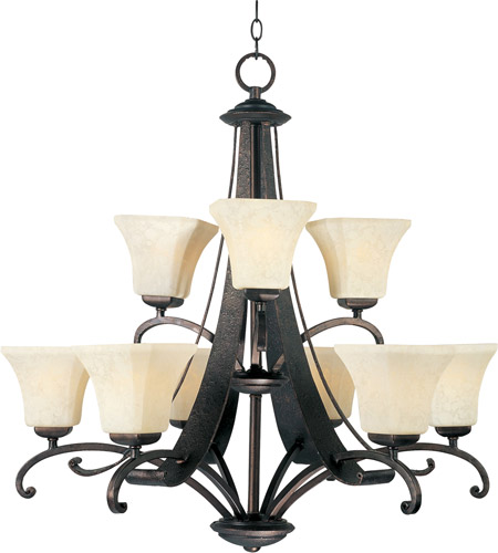 Maxim 21066FLRB Oak Harbor 9 Light 32 inch Rustic Burnished Multi-Tier Chandelier Ceiling Light photo