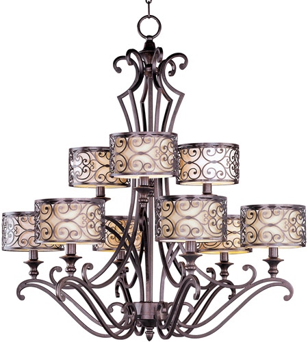 Maxim 21156WHUB Mondrian 9 Light 34 inch Umber Bronze Multi-Tier Chandelier Ceiling Light  photo