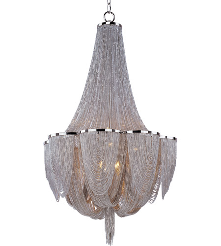 Maxim Lighting Chantilly 10 Light Single Tier Chandelier in Polished Nickel 21465NKPN photo