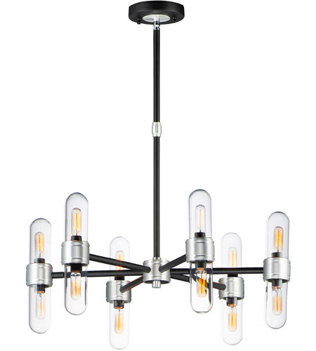 Maxim 21706CLBKAL Dual 12 Light 26 inch Black and Brushed Aluminum Outdoor Chandelier photo
