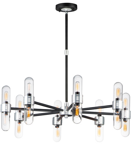 Maxim 21708CLBKAL Dual 16 Light 34 inch Black and Brushed Aluminum Outdoor Chandelier photo