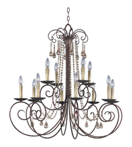 Maxim Lighting Adriana 12 Light Multi-Tier Chandelier in Urban Rustic 22209UR photo