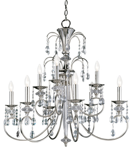 Maxim 24307CLPN Montgomery 9 Light 34 inch Polished Nickel Multi-Tier Chandelier Ceiling Light photo