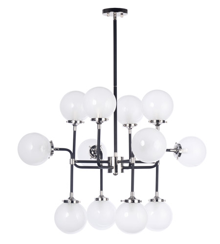 Maxim 24727WTBKPN Atom 12 Light 36 Inch Black And Polished Nickel Multi Light  Pendant Ceiling Light