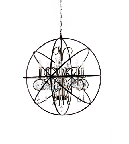 Maxim 25144ARPN Orbit 6 Light 25 Inch Anthracite And Polished Nickel Single Tier Chandelier Ceiling