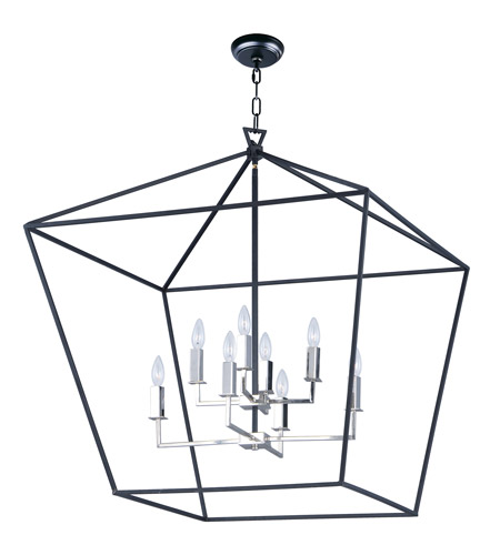Maxim 25154TXBPN Abode 8 Light 33 inch Textured Black/Polished Nickel Multi-Tier Chandelier Ceiling Light photo