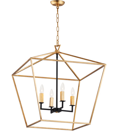 Maxim 25155GLTXB Abode 4 Light 25 inch Gold Leaf and Textured Black Chandelier Ceiling Light photo
