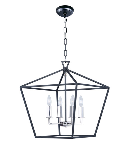 Maxim 25156TXBPN Abode 4 Light 18 inch Textured Black/Polished Nickel Single-Tier Chandelier Ceiling Light photo