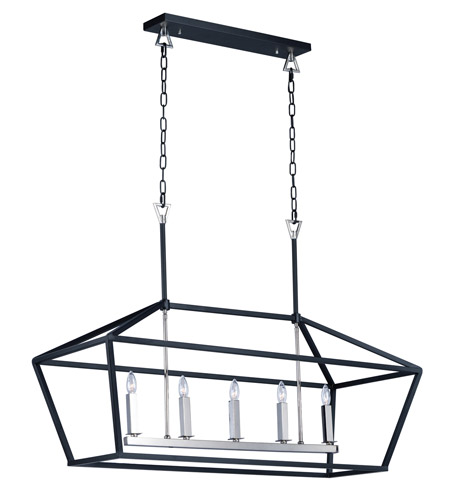 Maxim 25157TXBPN Abode 5 Light 19 inch Textured Black and Polished Nickel Single-Tier Chandelier Ceiling Light photo