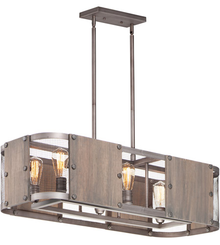 Maxim 25268BWWZ Outland 6 Light 38 inch Barn Wood and Weathered Zinc Linear Pendant Ceiling Light photo thumbnail