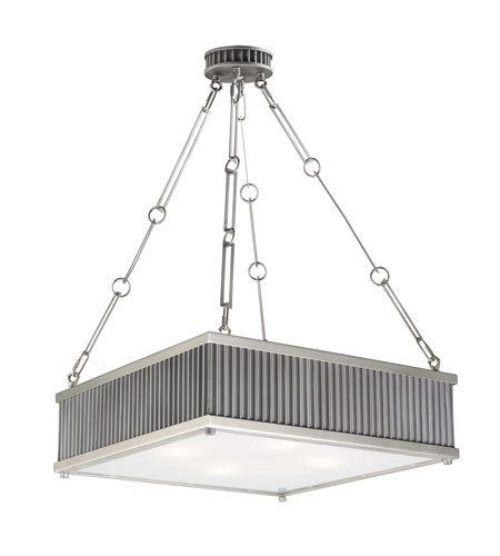 Maxim 26015WZSN Ruffle 4 Light 19 inch Weathered Zinc and Satin Nickel Single Pendant Ceiling Light photo thumbnail