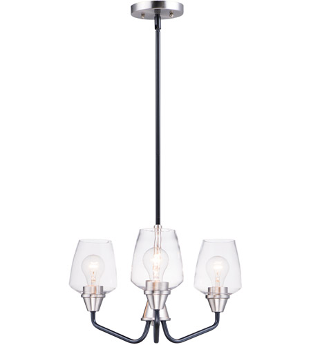 Maxim 26124CLBKSN Goblet 3 Light 19 inch Black and Satin Nickel Mini Chandelier Ceiling Light photo