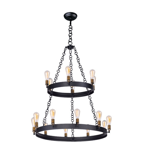 Maxim 26277BKNAB/BUI Noble 16 Light 38 inch Black and Natural Aged Brass Chandelier Ceiling Light photo