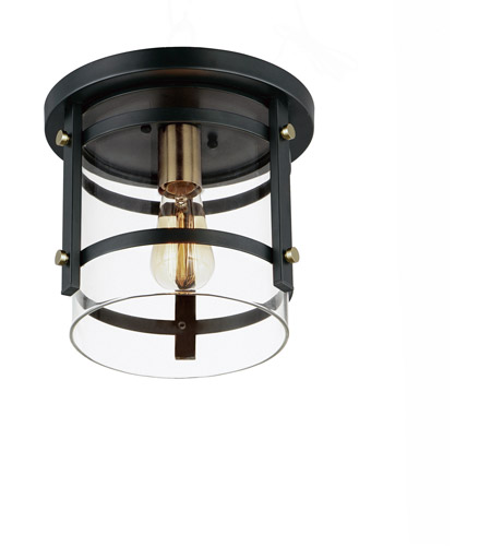 Maxim 2641BKAB Capitol 1 Light 10 inch Black and Antique Brass Flush Mount Ceiling Light photo