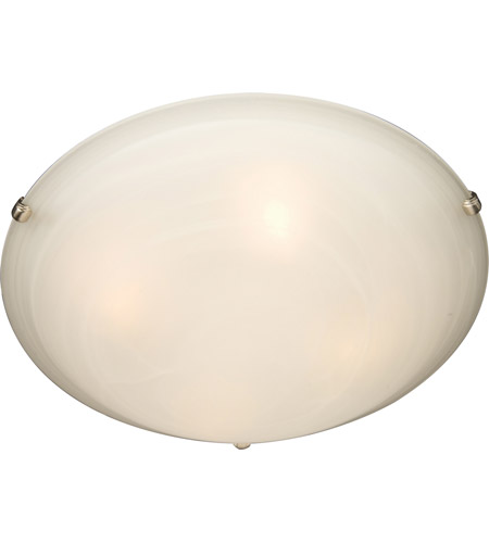 Maxim 2681MRSN Malaga 3 Light 16 inch Satin Nickel Flush Mount Ceiling Light in Marble photo
