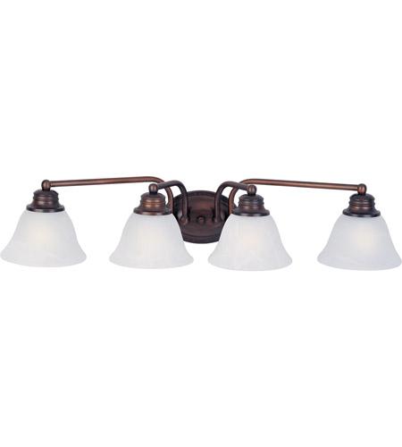 maxim 2689mroi malaga 4 light 29 inch oil rubbed bronze bath light wall light in marble - Oil Rubbed Bronze Bathroom Lighting