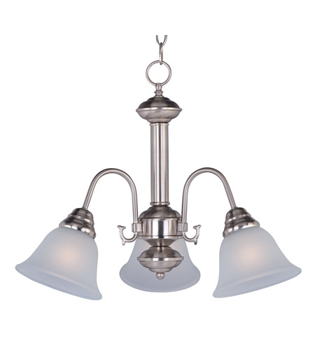 Maxim 2697FTSN Malaga 3 Light 20 inch Satin Nickel Mini Chandelier Ceiling Light in Frosted photo