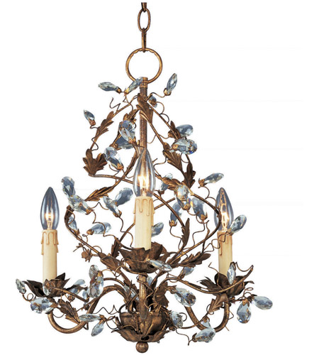Maxim 2850EG Elegante 3 Light 19 inch Etruscan Gold Mini Chandelier Ceiling Light photo
