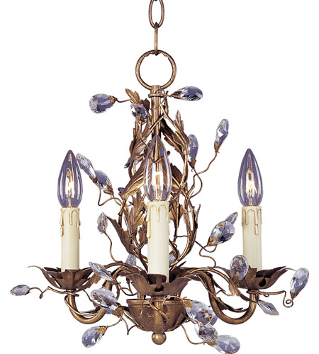 Maxim 2855EG Elegante 3 Light 14 inch Etruscan Gold Mini Chandelier Ceiling Light photo