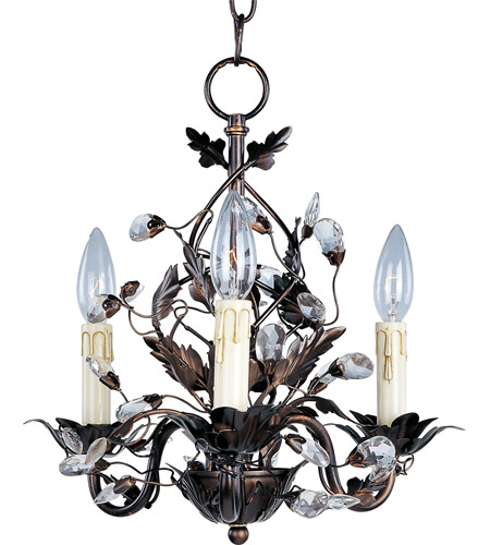 Maxim 2855oi Elegante 3 Light 14 Inch Oil Rubbed Bronze Mini Chandelier Ceiling Light