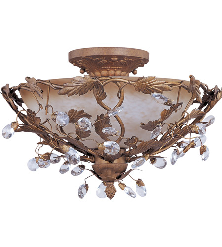 Maxim Lighting Elegante 3 Light Semi Flush Mount in Etruscan Gold 2859EG photo