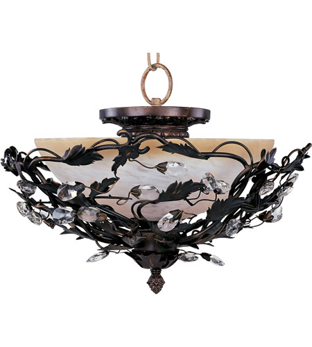 maxim 2859oi elegante 3 light 17 inch oil rubbed bronze semi flush